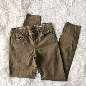 MADEWELL tuscan olive skinny skinny ankle jeans
